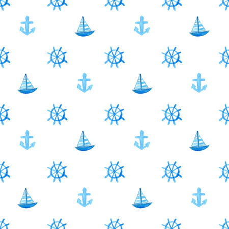 Nautical pattern with hand painted watercolor ship, anchor and wheel. Blue vector repeating texture. Background for greeting cards, invitations, kids party decorations Illustration