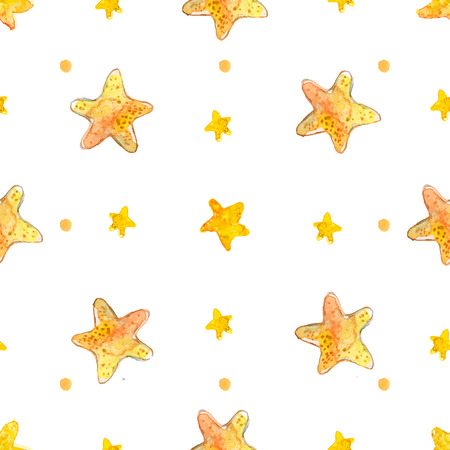 kids painted hands: Night sky pattern with watercolor yellow stars. Vector seamless background.