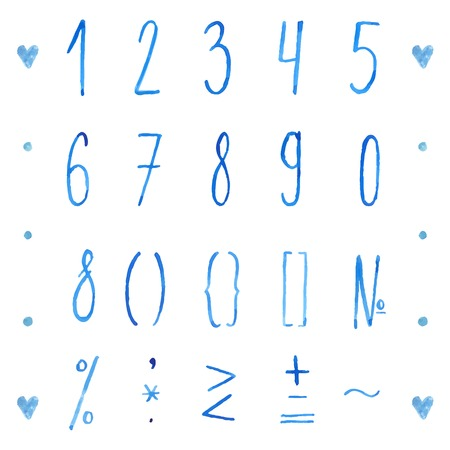 Set of hand drawn watercolor numbers and mathematical symbols. Vector digits for save the dates, invitations and other creative projects. Best with same style alphabet. Vector