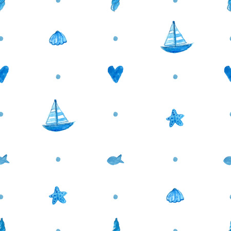 ships at sea: Seamless nautical background with hand painted watercolor ships, sea stars, fish and shells. Vector repeat pattern. Illustration