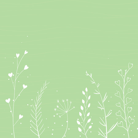 umbel: Green nature background with white branches silhouette and hand drawn plants. Vector spring backdrop.