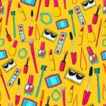 makeup fashion: Seamless pattern with makeup tools, brushes, mascara, lipstick and pencils. Illustration