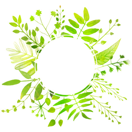 Spring and summer round frame with bright green leaves. Ilustrace