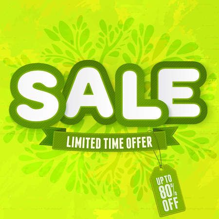 limited time: Green word Sale. Vector illustration for spring and summer advertising
