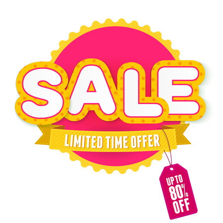 sale sign: Yellow and pink label Sale. Vector illustration for advertising.