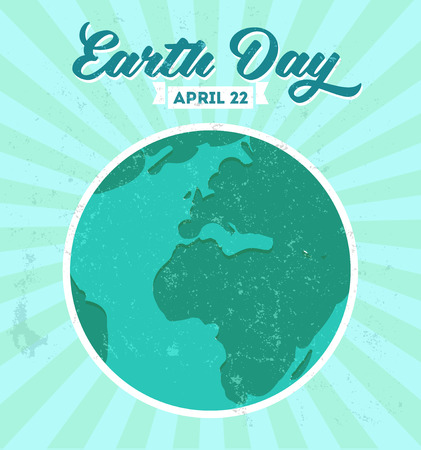 Earth day poster with grunge texture and sunburst. Vector illustration. Vector