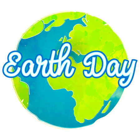 Earth day poster with paint texture. Hand drawn globe vector illustration. Eco friendly concept