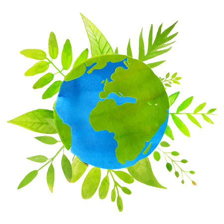 Green planet concept earth illustration with watercolor texture and hand drawn leaves and plants. Eco friendly. Vectores
