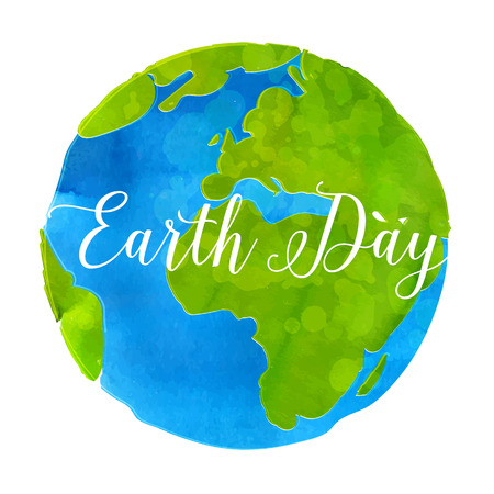 globe hand: Earth day poster with watercolor paint texture hand drawn globe vector illustratio