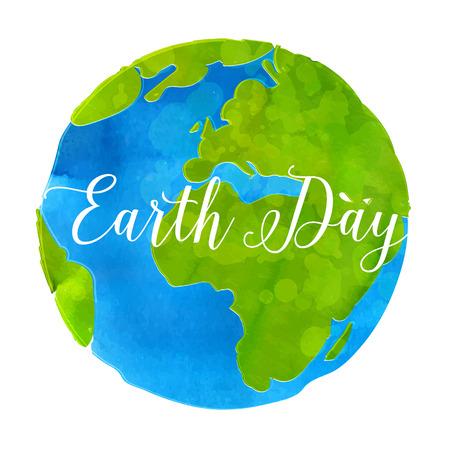 mundo manos: Tierra cartel dibujado d�a con pintura de acuarela textura mano illustratio vector mundo