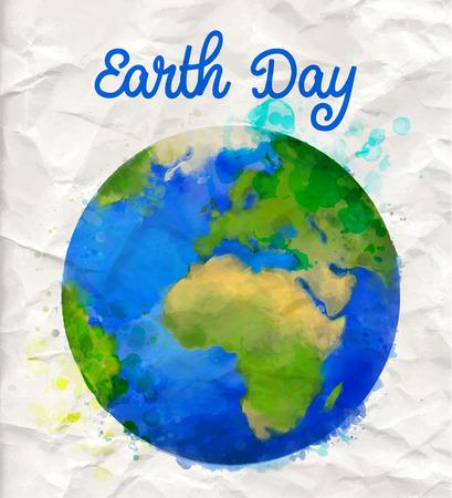 Tierra cartel día con la ilustración de la acuarela vector mundo en pape rumple