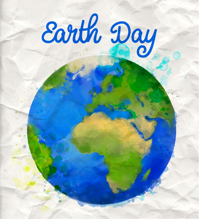 Planet: Tierra cartel día con la ilustración de la acuarela vector mundo en pape rumple