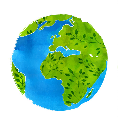 artistic vector illustration of Earth globe isolated on white background Watercolor texture with branches and leaves. Eco friendly concept.