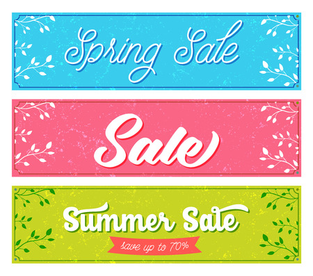 sale banners. Retro and vintage style with grunge texture, pink, blue and green colors. Vector designs for spring and summer advertisement. Illustration