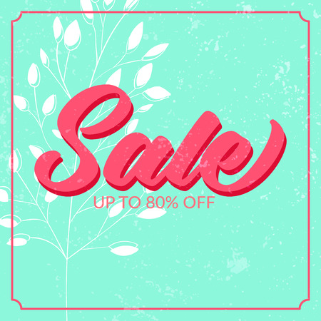 Retro sale poster with grunge texture, Up to 80 off. Vector banner for spring and summer clearance. Ilustração