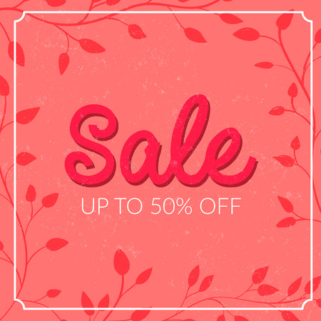Retro sale poster with grunge texture. Up to 50 off. Vector banner for spring and summer clearance. Ilustração