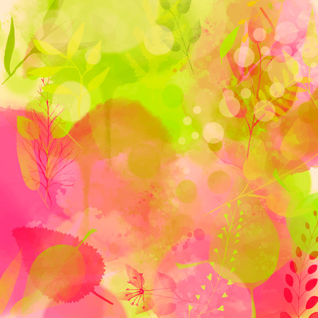 Nature inspired pink and green background, watercolor texture and leaves. Vector design for spring advertisement, banners, cards. Illustration