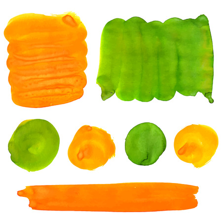 Green and orange gouache paint stains and strokes. Bright vibrant color splotches for logo and graphic backdrop. Vector artistic backgrounds Vector