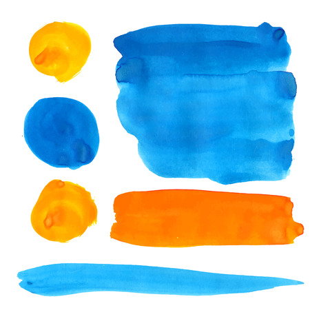 color swatches: Blue and orange gouache paint stains and strokes. Illustration