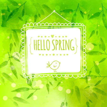 bamboo border: green background with bamboo leaves and stems. White hand drawn frame with bird. Vector texture. Hello spring.