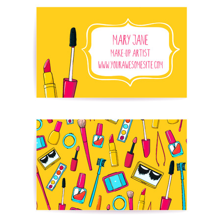 maquillage: Color� composent mod�le artiste carte de visite. Vecteur mise en page avec illustrations dessin�es � la main de vernis � ongles le tube, brosse de maquillage, eye-liner, rouge � l�vres et la palette.