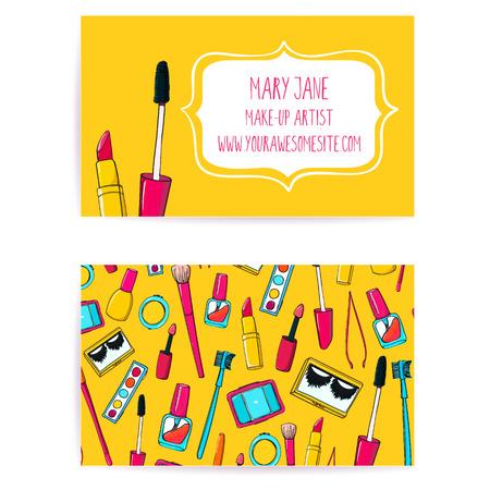 lapiz labial: Colorido conforman la plantilla de tarjeta de visita del artista. Dise�o del vector con el dibujado a mano ilustraciones de tubo de esmalte de u�as, cepillo del maquillaje, delineador de ojos, l�piz labial y la paleta. Vectores