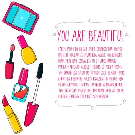 Makeup tools vector layout. Hand drawn illustrations of lipstick, mascara, nail polish tube and eyeshadows Vector