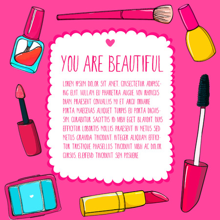 Pink make up background with makeup tools, brushes, mascara, cosmetics, lipstick and pencils. Colorful vector frame. Vector