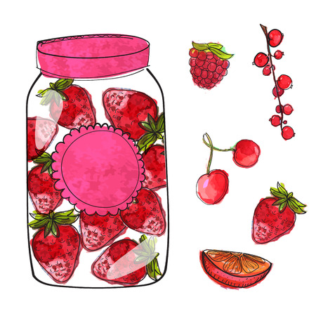 strawberry jam: Hand drawn jar with strawberry jam and isolated berries cherry, currant and raspberry. Set of vector illustrations, watercolor and ink style.