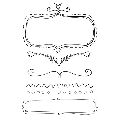 hand drawn frame: Set of hand drawn frame and dividers. vector design elements isolated on white background. Illustration