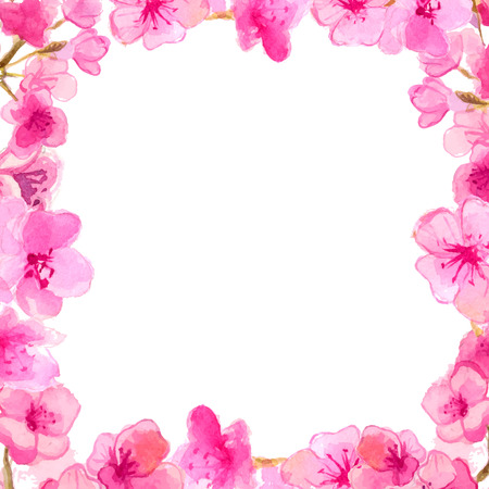 Kirschblüte Rahmen. Aquarell rosa flovers. Vektor Natur Hintergrund. Standard-Bild - 39098980