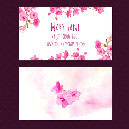 Business card vector template with pink cherry blosom flowers. Watercolor illustration.