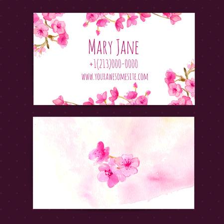 Visitekaartje vector sjabloon met roze cherry blosom bloemen. Aquarel illustratie.