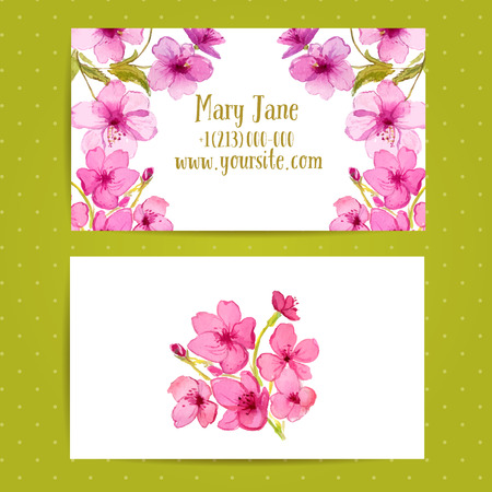 Business card template with watercolor flowers of cherry blossom business card template with watercolor flowers of cherry blossom vector identity layout stock vector colourmoves