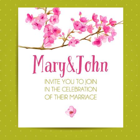사쿠라 꽃 결혼식 초대 레이아웃. 수채화 꽃 예술 벡터 템플릿입니다.