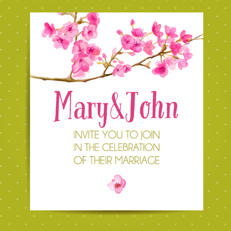 Wedding invitation layout with sakura flowers. Vector template with watercolor floral art.