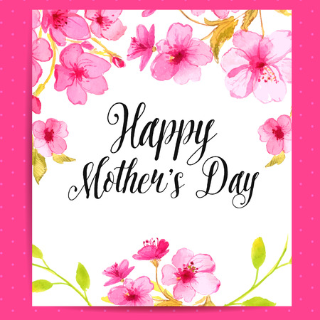 Happy Mothers Day card with cherry blossom. Vector layout with watercolor floral art.