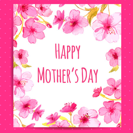 Happy Mothers Day card with cherry blossom frame. Vector layout with watercolor floral art.