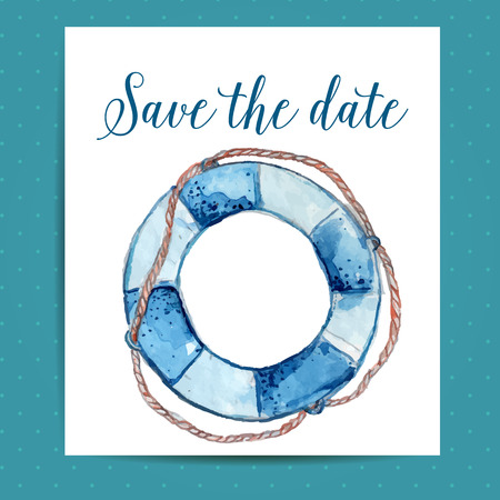 Save the date card for nautical wedding with life buoy. Vector template with watercolor art. Vector