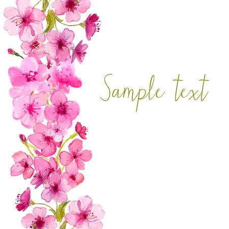 flor de sakura: Diseño del vector con la flor de sakura acuarela. Fondo floral del vector.