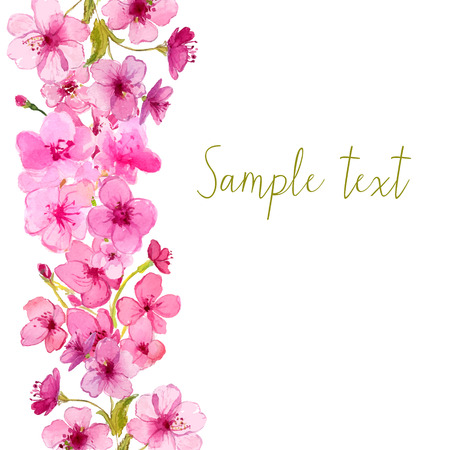 Vector layout with watercolor sakura blossom. Floral vector background.