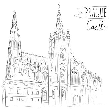 Hand drawn illustration of Prague Castle, Czech Republic. Vector sketch. Vector