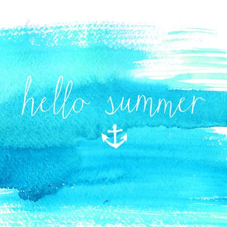 Blaue Aquarell Textur mit Text Hallo Sommer. Künstlerische Vektor Hintergrund.