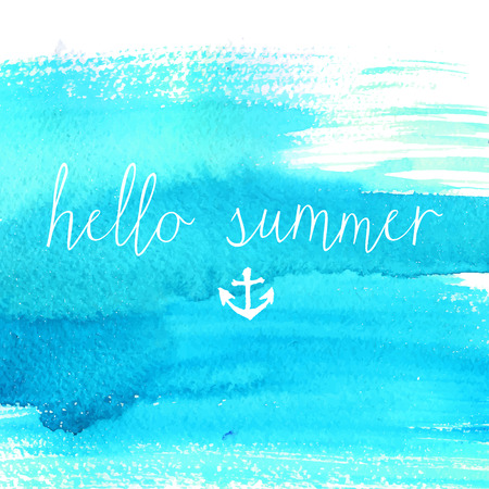 Blue watercolor texture with text hello summer. Artistic vector background.