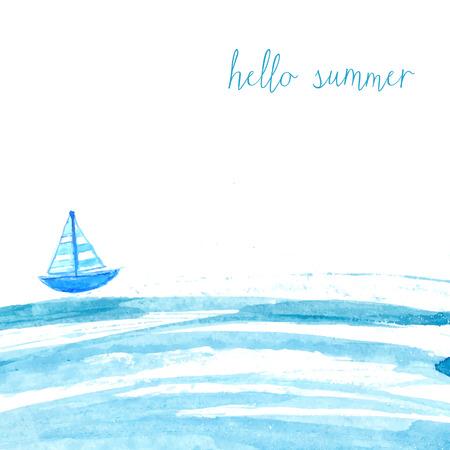 bateau: Aquarelle bleu mer avec bateau et texte bonjour été. Artistique de fond de vecteur.