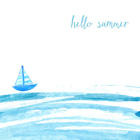 Blue watercolor sea with ship and text hello summer. Artistic vector background.