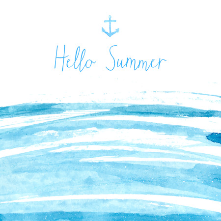 Blue watercolor sea texture with text hello summer. Artistic vector background. Vettoriali