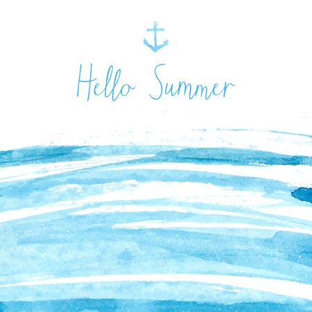 de zomer: Blue aquarel zee textuur met tekst hello de zomer. Artistieke vector achtergrond.