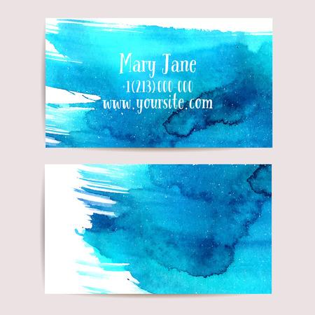 Creatieve adreskaartjesjabloon met artistieke waterverf ontwerp Stock Illustratie