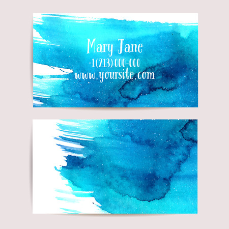 Creative business card template with artistic watercolor design